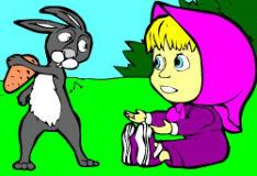 Игра Маша и кролик: раскраска