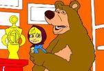 Маша и медведь: раскраска