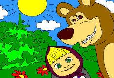 Игра Раскрась Машу и медведя