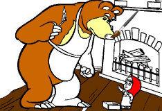 Маша и медведь разжигают камин