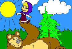 Маша и медведь на лужайке