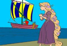 Раскрась принцессу Рапунцель