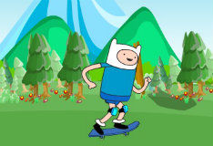 Финн и Джейк на скейтборде