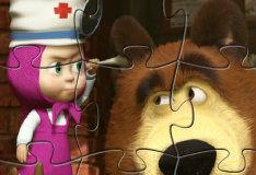 Игра 4 пазла с Машей и Медведем