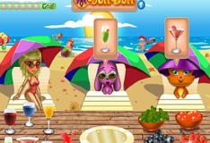 Лиза готовить коктейли в пляжном баре