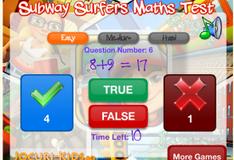 Игра Сабвей Серф: Тест по математике