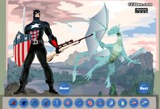 Игра Наряди Капитана Америку для сражения с драконом