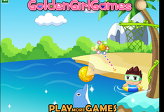 Игра Дельфин бросает мяч в корзину