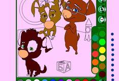 Игра Игра Дина, Рекс и Бублик - раскраска