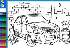Игра Раскраска: Машина едет сквозь стену