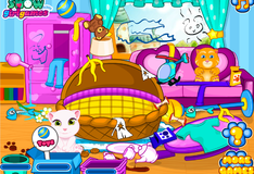 Игра Говорящий кот Том и Анжела: Уборка детской комнаты