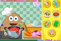 Игра Поу бездельничает на кухне и готовит еду