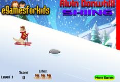 Элвин катается на горных лыжах