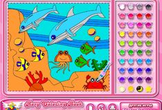 Игра Раскраска: дельфины в море