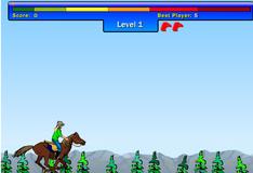 Лиза скачет на лошади