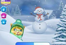 Игра Говорящий кот Том: Игра в снежки
