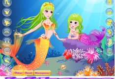 Игра Игра Симпатичная маленькая русалочка и ее мама