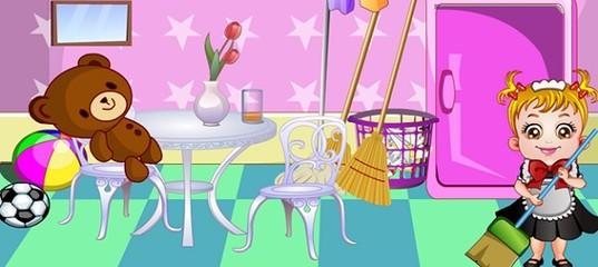 Игра Малышка Хейзел убирает в комнате