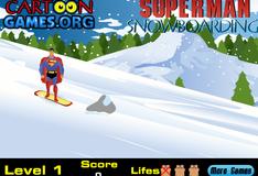 Супермен катается на сноуборде