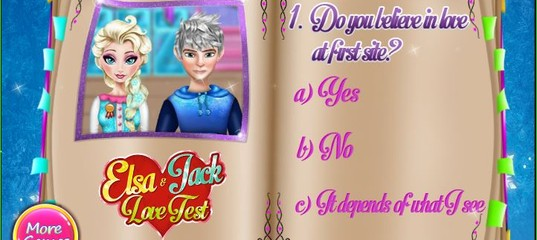 Игра Тест Любовь Эльзы и Джека