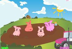 Игра свинки в грязи на большой ферме