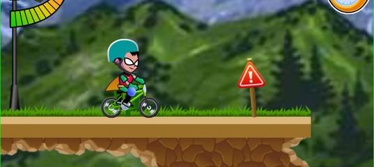 Игра Юные титаны Гонка на велосипеде BMX