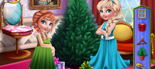 Игра Анна и Эльза готовлятся к Рождеству
